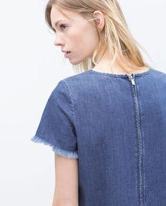 Image 5 of DRESS WITH FRAYED HEM from Zara