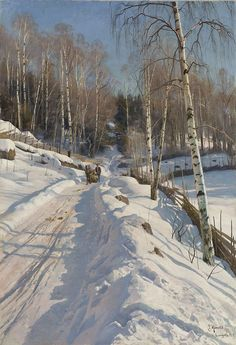 The deep rut is lit by a low sun from the left.     Winter Day by Peder Mørk Mønsted (Danish, 1859-1941)   The snow in shadow areas in the ...