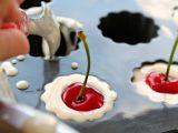 Flanecillos con cerezas y ron