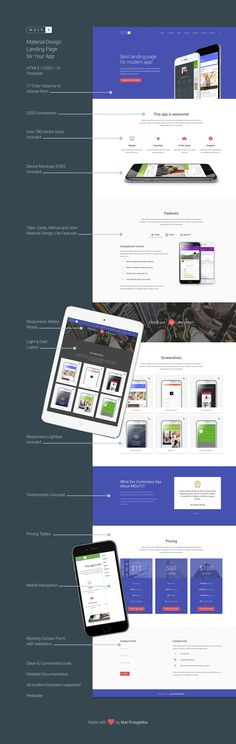 Material Design Landing Page template in html / css / js