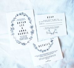 Olive Branch & Co Wedding Collection - All That Suite, featuring an inky botanical wreath and black and white for a modern and minimalist feel.  www.olivebranchandco.com www.olivebranchandco.etsy.com