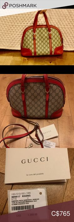 authentic gucci hand bag authentic gucci handbag with shoulder belt . pre loved. used mark showed on the picture. but hard to tell when wear. Gucci Bags Totes