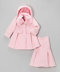 Take a look at this Pink Faux Fur Coat & Dress - Toddler & Girls by Bijan Kids on #zulily today!