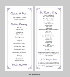 Wedding Program Template Tea Length Classic by MyExpressionShop