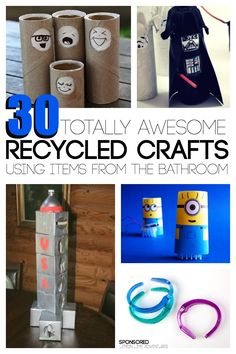30 totally awesome recycled crafts that use items from the bathroom #CareToRecycle #ad