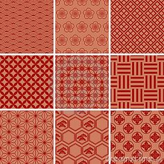 Japanese Traditional Red Pattern Set