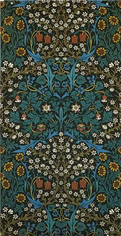 william morris. wallpaper sheet. reminds me of the unicorn tapestries and Klimt.