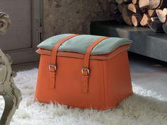 Puf de cuero con contenedor Colección Electa by Fasem | diseño Archirivolto