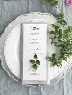 Simple wedding menu with greenery