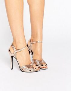 Public Desire Angel Knot Rose Gold Heeled Sandals