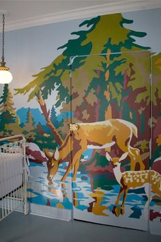 paint-by-number mural-- give each of the colours a number, matching the numbers to selected paint chips. once you've selected those, project the paint-by-number on the wall and trace it out using pencil and start painting!