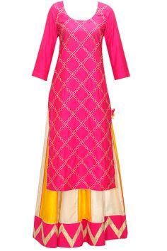 Deep pink and yellow gota work lehenga set by The Silk Tree. Western Dresses, Indian Dresses, Indian Outfits, Indian Attire, Indian Wear, Long Kurti With Skirt, Salwar Kameez, Lehenga Online, Indian Look