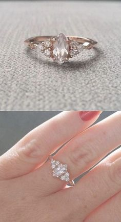 """Antique Engagement Ring Victorian White Sapphire Marquise Diamond Bohemian Antique Filigree Delicate Rose Gold """"The Delphine"""" Gold Diamond Wedding Band, Wedding Rings Rose Gold, Rose Gold Engagement Ring, Engagement Ring Settings, Bridal Rings, Solitaire Engagement, Silver Rings, Engagement Jewelry, Wedding Bands"""