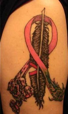 """This is one breast cancer survivor's way of declaring she """"scalped"""" her enemy.  http://thestir.cafemom.com/healthy_living/145399/20_awesome_tattoos_supporting_breast"""