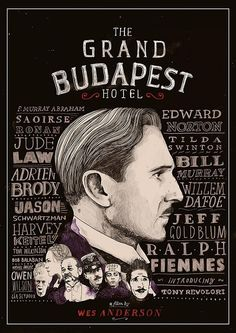 Grand Budapest Hotel alternate poster. Illustrated by Peter Strain. Like a hand drawn chalkboard.
