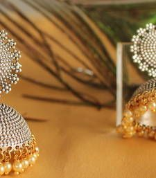 Buy Gorgeous oxidized silver jhumkka with pearl drops jhumka online