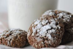 Biscotti con farina di castagne & cacao all'olio di oliva ( Nanoricetta 24 mesi+) Kakao, Food And Drink, Gluten Free, Cookies, Chocolate, Pancake, Sweet, Desserts, Aurora