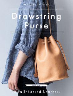 Baggu drawstring bag. in Cream.