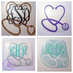 Monogrammed Heart Shaped Stethoscope Decal by MeowMeowHouseDesigns Cardiac Nursing, Nursing Career, Christmas Crafts For Gifts, Craft Gifts, Vet Tech Scrubs, Nursing Tattoos, Arm Tattos, Baby Nurse, Nursing Assistant