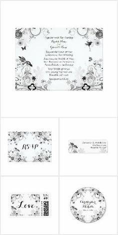 Pretty Flower Garden and Birds Wedding Collection. This pretty wedding collection features a charming black and white garden filled with flowers, vines, silhouette birds and butterflies. #ad
