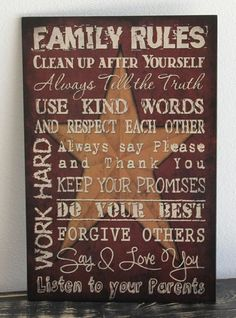 family rules wall art | Primitive Wall Decor Wood Sign, Family Rules, Red