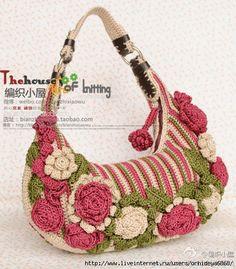 Crocheted flower bag