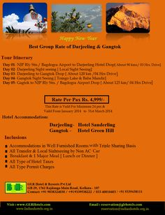 Best Group Rate  3 nights darjeeling 2 nights gangtok  @Rs.4,999/- Min 24 px   Hotel Accomodation all transport sight seen All food