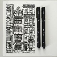 art drawing pen sketch illustration linedrawing london architecture buildings street is part of pencil-drawings - Architecture Drawing Sketchbooks, Architecture Sketches, London Architecture, Architecture Journal, Building Drawing, Building Sketch, Building Art, Building Painting, Stylo Art