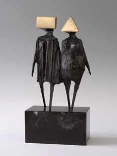 """ronulicny:  """"Maquette Vl, Walking Couple"""", 1976 By: LYNN CHADWICK…."""