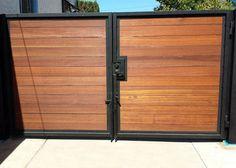 metal driveway gate white horizontal slats - Google Search