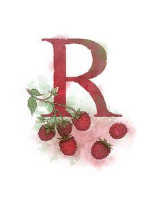 Letter R- Raspberry, Nature Alphabet Art x Print Initial Nursery Home Decor Alphabet Art, Alphabet And Numbers, V Violet, Money Bouquet, Divination Cards, Celtic Art, Fine Art Paper, Rowan, Hand Lettering