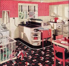 Dizzying-but check out the washing machine, folding counter(?), ironing board cupboard, sewing desk, playpen, and (most likely faux) garden. Talk about utilizing space! (1936)
