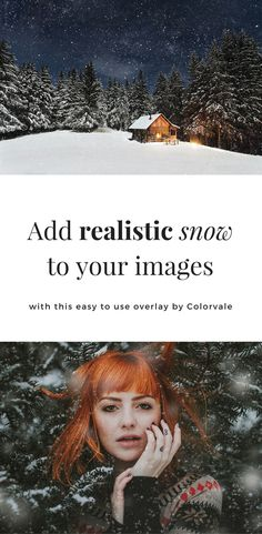 Photographers:  Add realistic snow to your images with these easy to use Overlays by Colorvale https://colorvaleactions.com/collections/templates-overlays/products/realistic-snow-overlays-for-photoshop-or-elements