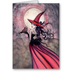 Items similar to Witch Cat Autumn Fine Art Print by Molly Harrison 'Beware the Red Spotted Owl' Giclee 5 x 7 on Etsy Halloween Art, Vintage Halloween, Samhain, Owl Wall Decals, Dragons, Spotted Owl, Witch Cat, The Worst Witch, Fairy Art
