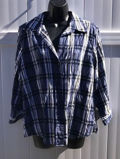 Foxcroft Blue White Yellow Fitted Stretch Plaid L/S Work Career Shirt - Size 14 #Foxcroft #ButtonDownShirt #CareerCasual