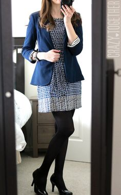 Cute outfit  Kerri Abstract Print Sheath Dress from Leota and Benson 3/4 Ruched Sleeve Blazer from 41Hawthorn - January 2015 Stitch Fix review #stitchfix