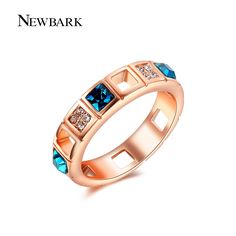 Find More Rings Information about NEWBARK Women Sapphire Rings Hollow Clear CZ…