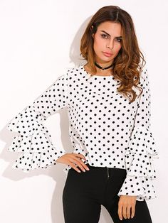 ec2e4c7a34d Plus Size ZANZEA Womens Polka Dot Ruffle Flouncing Long Flare Sleeves O  Neck Blouse Fashion Office Female Tops Shirt Blusas 2017 - TakoFashion -  Women s ...