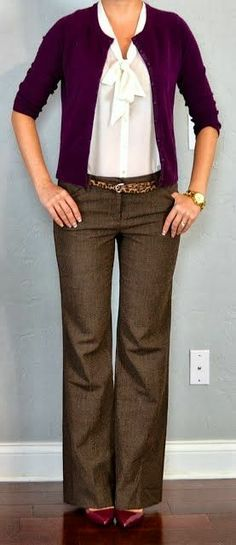 swap the heels for flats and even replace the blouse with a shell (the tie intimidates me) and you have my go-to look at work.