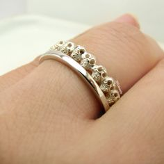 Tiny Gothic Skull Eternity Stack Ring  Rough by 360JewelsElite, $95.00