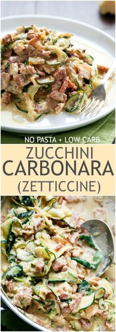 No Pasta + Low Carb Zucchini (Zettuccine) Carbonara! | http://cafedelites.com