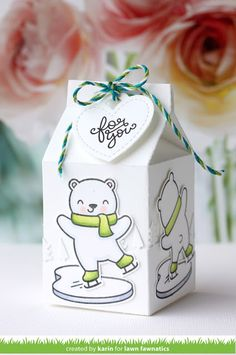 I'm here to share inspiration for the latest Lawn Fawnatics Challenge . This time our theme is Clever Gift Packaging and ther. Candy Crafts, Paper Crafts, Christmas Tag, Christmas Crafts, Xmas, Milk Carton Crafts, Milk Cartons, Box Noel, Lawn Fawn Stamps
