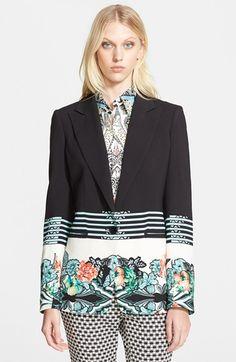 Etro Floral Print Cady Jacket in Black (black multi)
