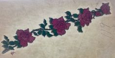 Vine of Roses Vintage Glitter Iron On Heat Transfer by VintageIronOn on Etsy