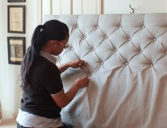 Learn the art of Diamond Tufting with this super easy video tutorial. You can make a Tufted Diamond Headboard or Ottoman with this easy process.