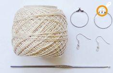Creative Recycling - Craft and Fun: Crochet: Hoop Earrings Crochet Earrings Pattern, Crochet Jewelry Patterns, Crochet Accessories, Crochet Designs, Crochet Necklace, Crochet Crafts, Crochet Lace, Crochet Hooks, Fabric Jewelry