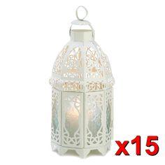 15 Large White Moroccan lattice lace Lantern shabby Candle holder wedding decor #Unbranded
