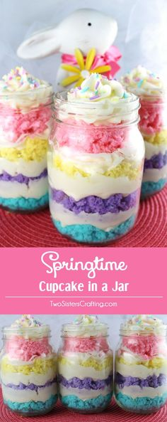 Our Springtime Cupcake in a Jar featuring colorful cake layers and delicious Buttercream Frosting is a unique take on cupcakes and a great Easter dessert. It would also be great for a Mother's Day Bru(Easter Baking For Kids) Mason Jar Cupcakes, Fun Cupcakes, Cupcake Cakes, Easter Cupcakes, Easter Cake Jars, Spring Cupcakes, Delicious Cupcakes, Birthday Cupcakes, Jar Cakes