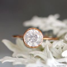 white gray diamond in 14k rose gold engagement ring - My Engagement Ring