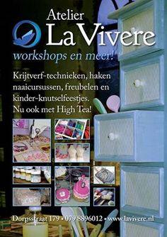 Informatie avond Atelier La Vivere. 15 Maart vanaf 19.30 We geven die avond diverse demo's op het gebied van #krijtverf #workshops #naailes #hobby #hobbymateriaal #hoedendoos #creatief #kinderfeestje #DIY #Brocante #Vintage #lavivere  http://lavivere.nl/ 